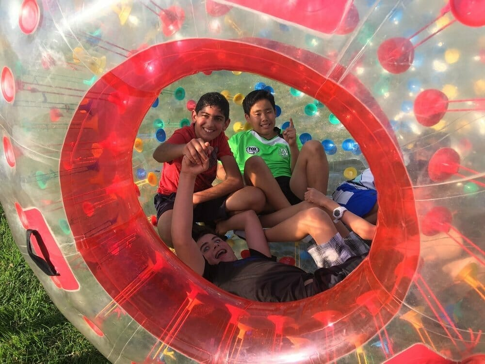 AirballingOC often takes our Zorb balls out for birthday parties in Irvine, California. Our Human hamster ball can fit multiple kids and here's a picture with 5 kids inside our giant inflatable hamster ball. We provide the best Zorb ball rental in Orange County!