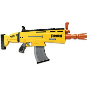 This Nerf gun is based on Fortnite and is often provided to the birthday boy of our Nerf Party.