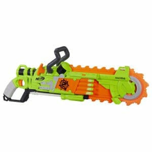 The Nerf Zombie strike has a cool chainsaw feature. It's one of the most practical nerf guns for some of our Nerf birthday Games!